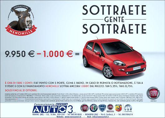 Operazione MENO MILLE - 9.950 € - 1.000 SOTTRAETE GENTE SOTTRAETE!  http://www.nuovaauto3-fcagroup.it/fiat/promozioni#84343