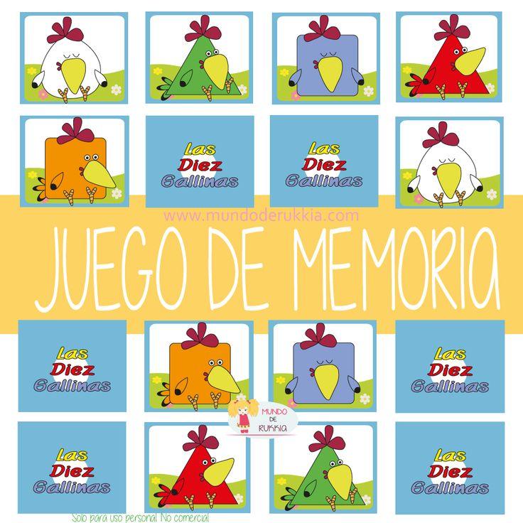 juego memoria, cartas de memoria para niños, las diez gallinas, aprender formas geometricas, juego de figuras geometricas, actividad las diez gallinas, memory cards kids,