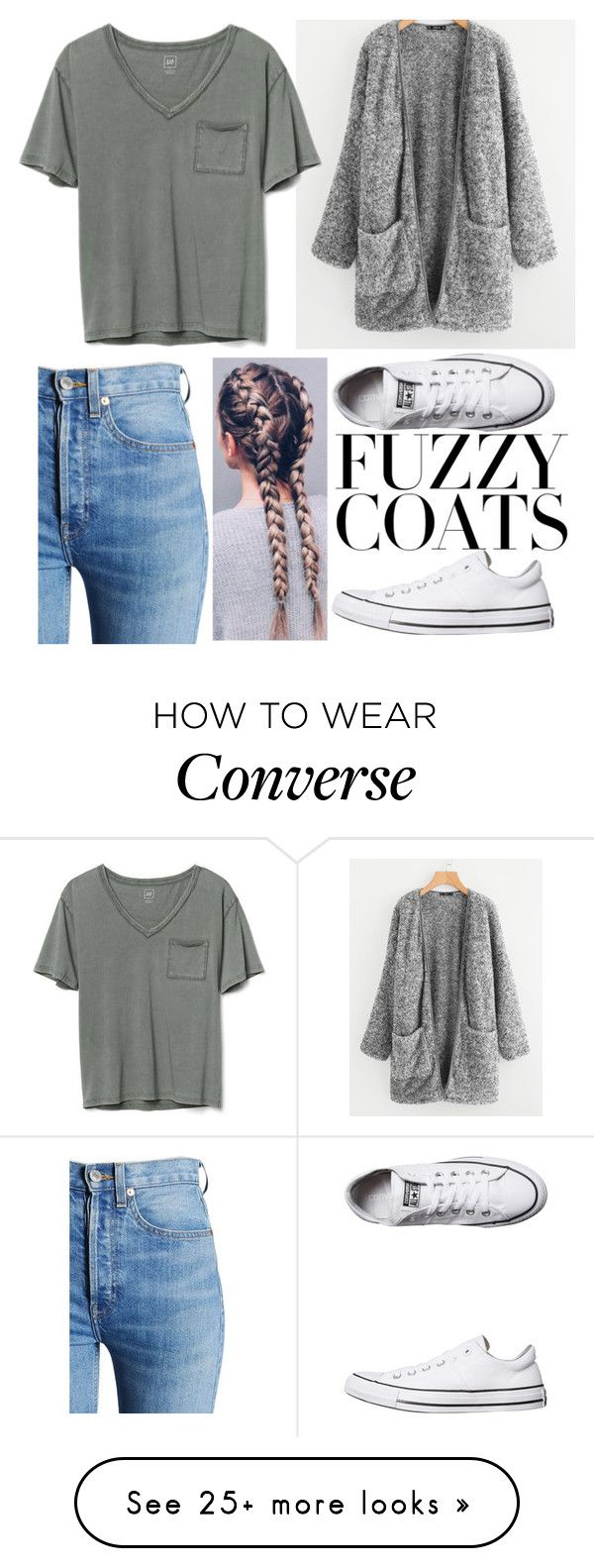 """Fuzzy Coats"" by ginabartel on Polyvore featuring RE/DONE, Gap and Converse"