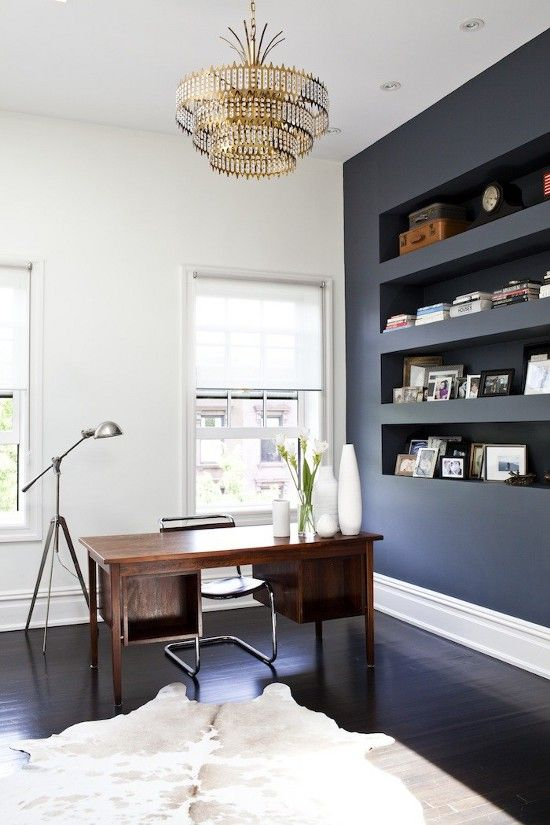 Michelle James Remodelista Study   Simple Modern Home Office With Dark Walls  And Vintage Chandelier (wall Of Shelves   Whale Gray Ben Moore)