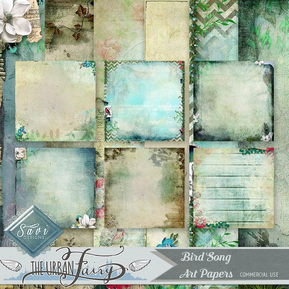CU Commercial Use Background Papers set of 6 for Digital Scrapbooking or Craft projects BIRDSONG Art Papers, Designer Stock Papers