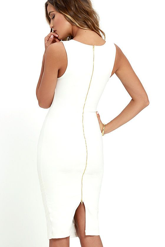 The perfect midi for every occasion has arrived in the form of the Quite Spectacular Ivory Midi Dress! Medium-weight stretch knit creates a polished look over a sleeveless bodice with curving V-neck and princess seams. Bodycon midi skirt is finished with a kick pleat and exposed gold back zipper.