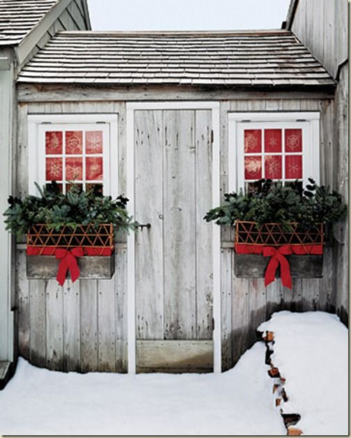 add bows to my window boxes during holidays...too cute!
