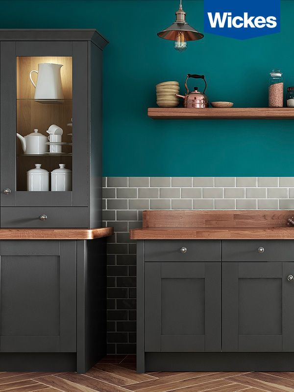 NO. 1 FOR TRENDS.  This slate kitchen by Wickes paired with teal and copper are what kitchen dreams are made of.
