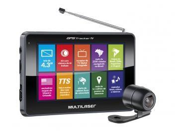 "GPS Automotivo Multilaser Tracker III - Tela 4.3"" TV Digital Câm de Ré 2500 Cid Navegáveis"