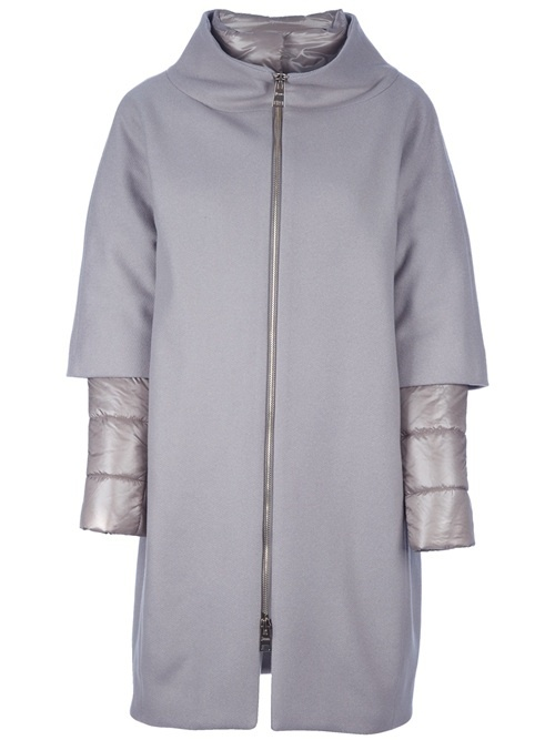 Grey wool blend coat from Herno featuring a a wide funnel neck, a central front zip fastening, two side side pockets, three-quarter length sleeves, a padded under-layer with a funnel neck, a central front fastening and long sleeves.