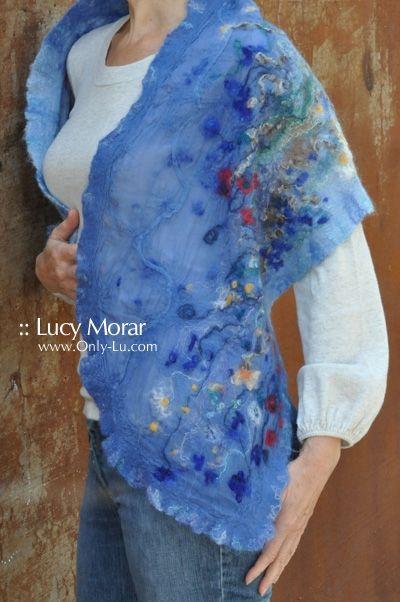 """""""Tiny Wildflowers"""" Nuno Felt Art Scarf by Lucy Morar"""