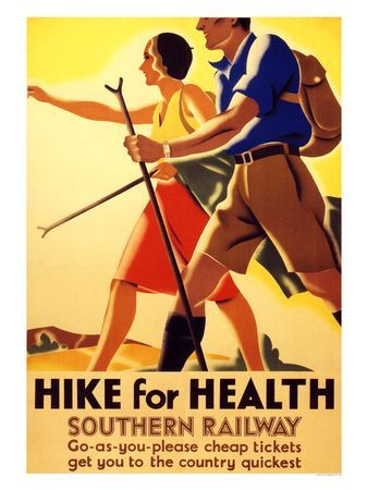 Hike for Health poster.  1930s
