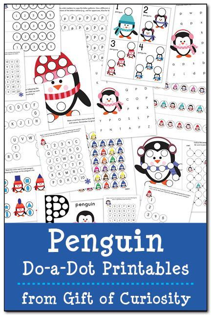 Free Penguin Do-a-Dot Printables: 17 pages of penguin do-a-dot worksheets for kids ages 2-6. Lots of great skills practice and a fun resource for kids learning about penguins.    Gift of Curiosity