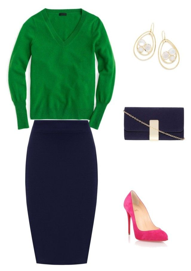 """Green+pink"" by sofya-2 on Polyvore featuring J.Crew, Christian Louboutin, WearAll, Dorothy Perkins, Ippolita and plus size clothing"