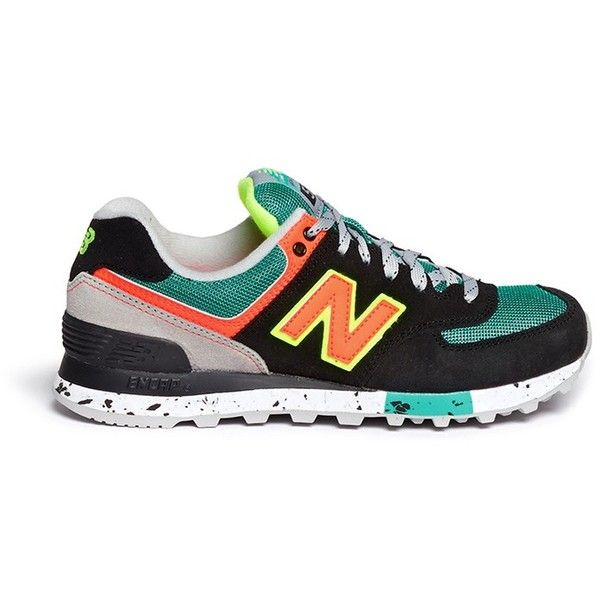 New Balance '574 Classic' mesh suede sneakers (1,585 MXN) ❤ liked on Polyvore featuring shoes, sneakers, suede trainers, sports trainer, suede sneakers, suede leather shoes and new balance trainers