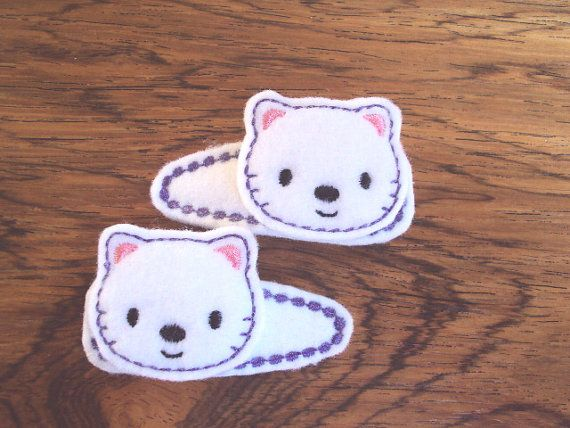 Felt snap clip barrettes of cute little kittens by PJSEMBROIDERY, $5.00