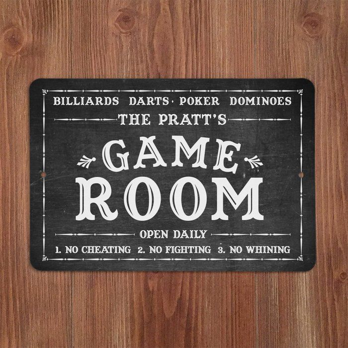 Personalized Chalkboard Look Game Room Metal Sign Wall Decor In