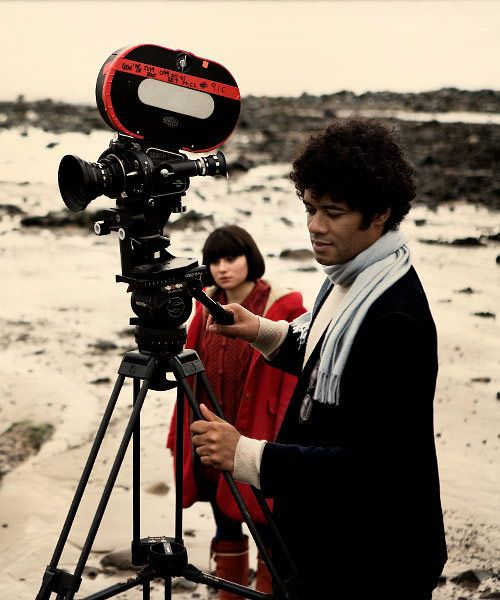 Richard Ayoade and Yasmin Paige while filming Submarine (2010)