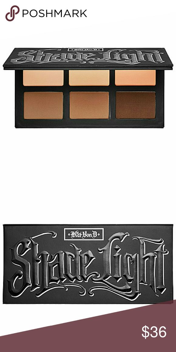 New Kat Von D Shade + Light eye contour palette New- Kat Von D Shade+Light eye contour palette contains:  - 3 x 0.08 oz/ 2.26 g Base shades in Laetus (creamy nude), Lazarus (cool taupe), Ludwin (peachy bronze)  - 3 x 0.04 oz/ 1.13 g Contour shades in Samael (dusty fawn), Saleos (smoky brown), Succubus (rich rust)  - 3 x 0.04 oz/ 1.13 g Define shades in Solas (espresso brown), Shax (jet black), Sytry (chocolate brown)  - 3 x 0.04 oz/ 1.13 g Highlight shades in Lucius (soft beige), Liberatus…