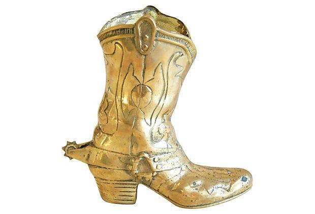 1950s Western Brass Cowboy Boot Vase