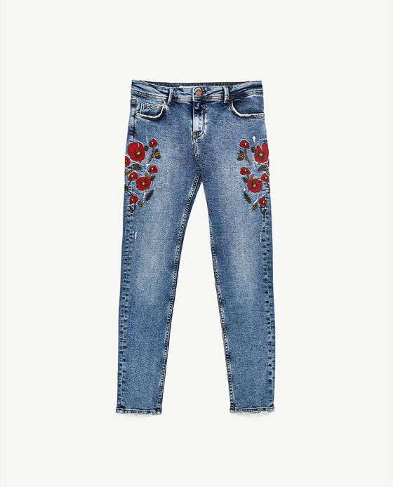 Image of mid rise jeans with floral embroidery from zara