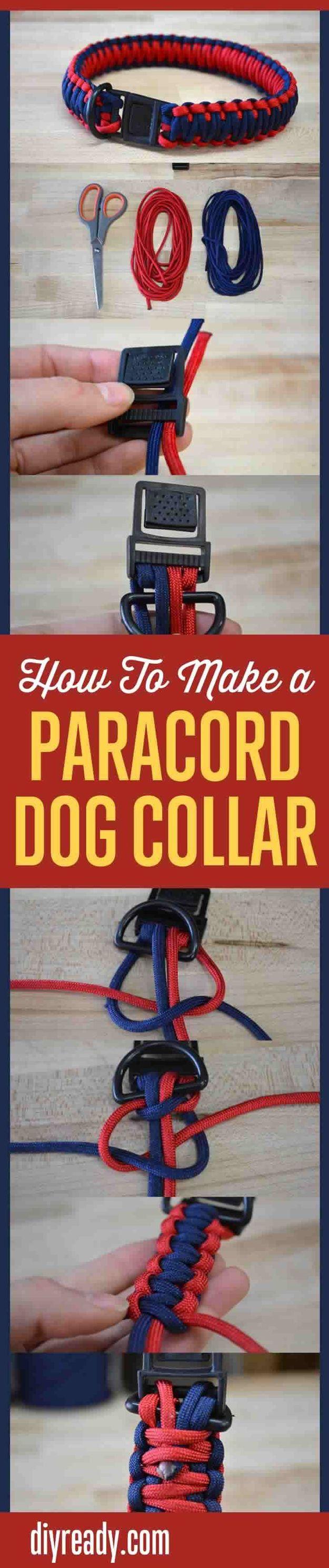 Homemade Dog Collar Projects | Paracord Dog Collar by DIY Ready at http://diyready.com/diy-dog-crafts-mans-best-friend-will-love/ und die Bänder mit ätherischen Ölen einweichen und trocknen lassen