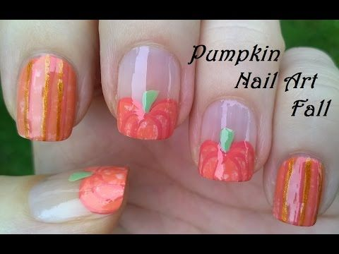 Pumpkin Nail Art - Orange Nail Designs For FALL By Striping Brush - http://47beauty.com/nails/index.php/nail-art-designs-products/  Easy pumpkin nail art using striping nail brush: In today's nail art video I show you an orange fall nail design using only a brush. After applying base coat I paint my nails orange, over my thumb- middle- and ring finger nails I make pumpkin shape… let them dry. I take a striping brush, darker orange and sparkly orange nail polishes