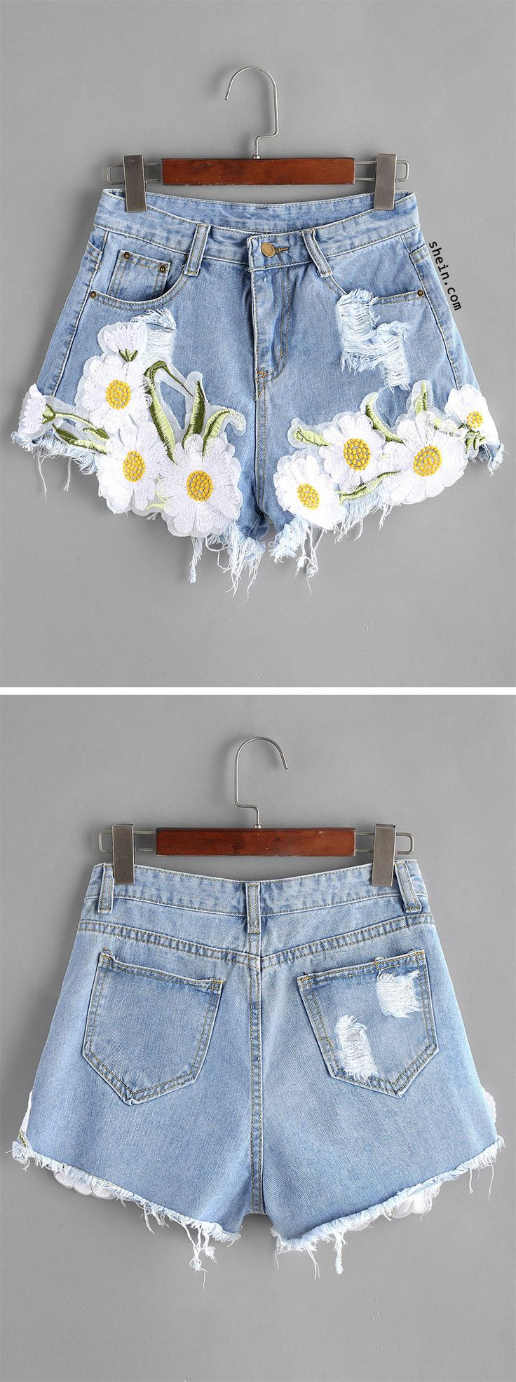 Light Blue Ripped Appliques Raw Hem Denim Shorts. Two colors available.