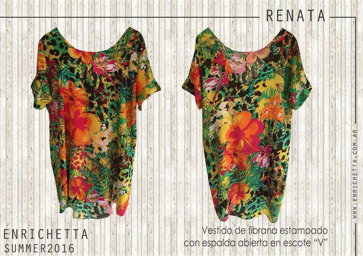 """Renata Vestido de fibrana estampado con espalda abierta en escote """"V""""  www.enrichetta.com.ar #Summer2016 #ColeccionSummer2016 #VeranoConEnrichetta"""