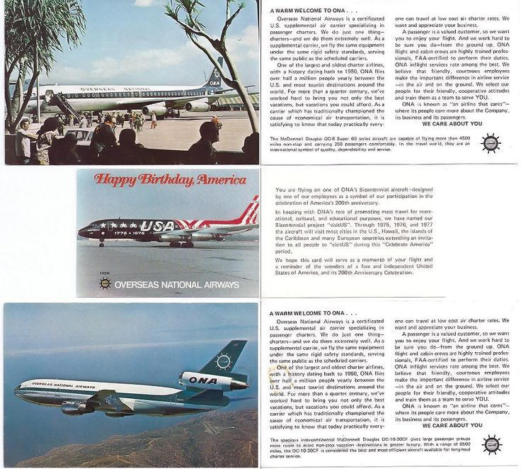 marketing cards that were often including in ticket jackets for passenger information on the airline