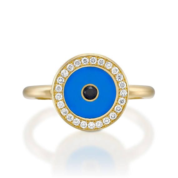 All-seeing Eye » symbolising protection   The beauty of this ring enhanced by a stylised Eye, made of turquoise handmade emile,surrounded with white sparkling diamonds and black diamond in the center.  On your finger, the all-seing eye is looking after you.  ________________________________________________________________________________  ♥ High quality white and clean sparkling diamonds ( H - VS ) ♥ The ring is made with great care from 18K yellow Gold.  ♥ Total carat of 0.42ct ( 26…