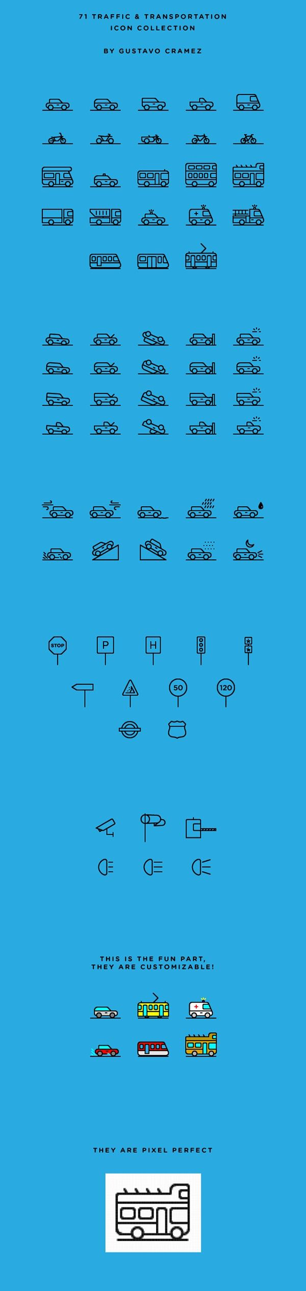 Icon / 71 Traffic & Transportation Icon Collection | Free on Behance