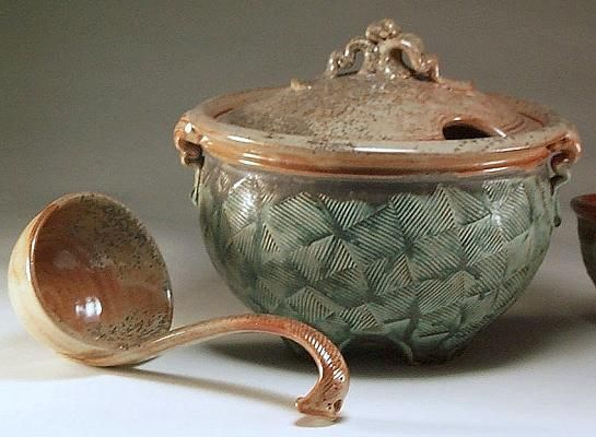 Stoneware Tureen & Laddle Jeff Brown Pottery.