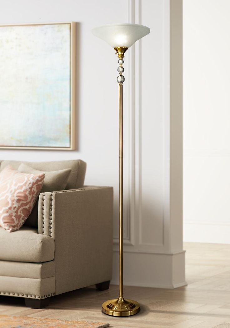 Floor Lamps Dale Tiffany Optic Antique Brass Torchiere
