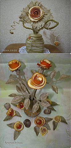 Декоративные букеты из мешковины, шпагата и апельсиновых корок.