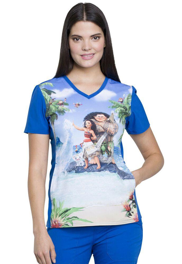 45832ba9a7e eBay #Sponsored Moana Scrubs Cherokee Licensed Tooniforms V-Neck Top Maui  And Moana TF627