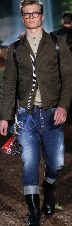 Spring 2014 Menswear Dsquared² - military and camp is big for spring 1014… I like this look… won't be cuffing the  jeans as high as the boots… but a great look for younger !