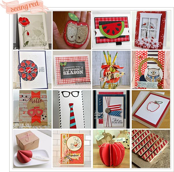 mosaic of cards and other paper craft projects using the color red