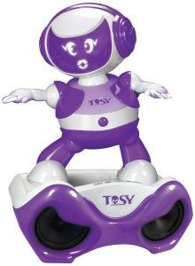 DiscoRobo Toy with Voice and Sound Stage-Purple DISCOROBO will amaze you with its beat sensitive dance moves. As a combination of hi-tech and entertainment. http://awsomegadgetsandtoysforgirlsandboys.com/tosy-robotics-discorobo/ TOSY Robotics: DiscoRobo Toy with Voice and Sound Stage-Purple