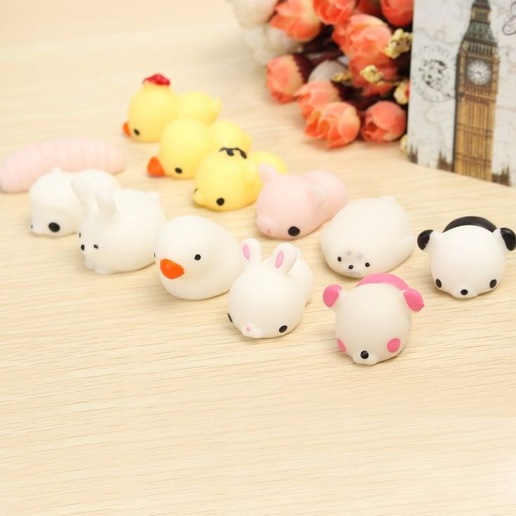 6PCS Mochi Chicken Duck Tiger Bear Seal Squeeze Squishy Healing Toy Collection Stress Reliever ...