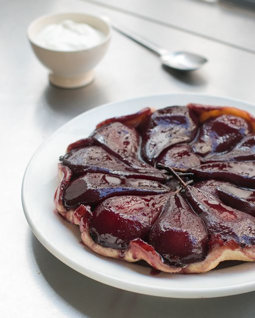 Red Wine Poached Pear Tart recipe | davidlebovitz.com