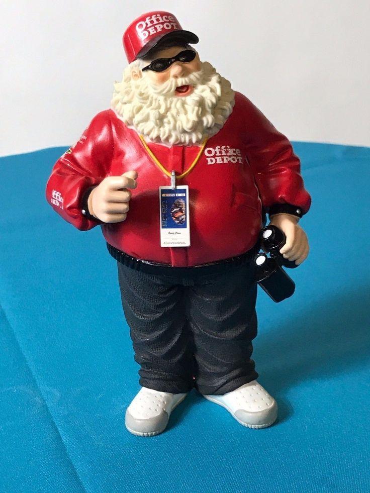 "Office Depot Nascar Racing Santa Figurine 8"" Tall"