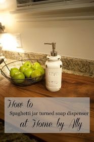 Home by Ally: How to: Use a spaghetti sauce jar to make a soap dispenser
