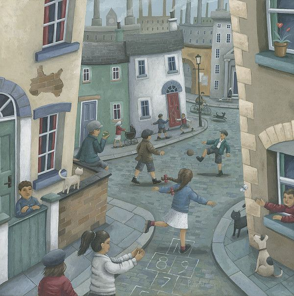 Hopscotch down the Hill Beautiful Nostalgic street scene by British artist Peter Adderley