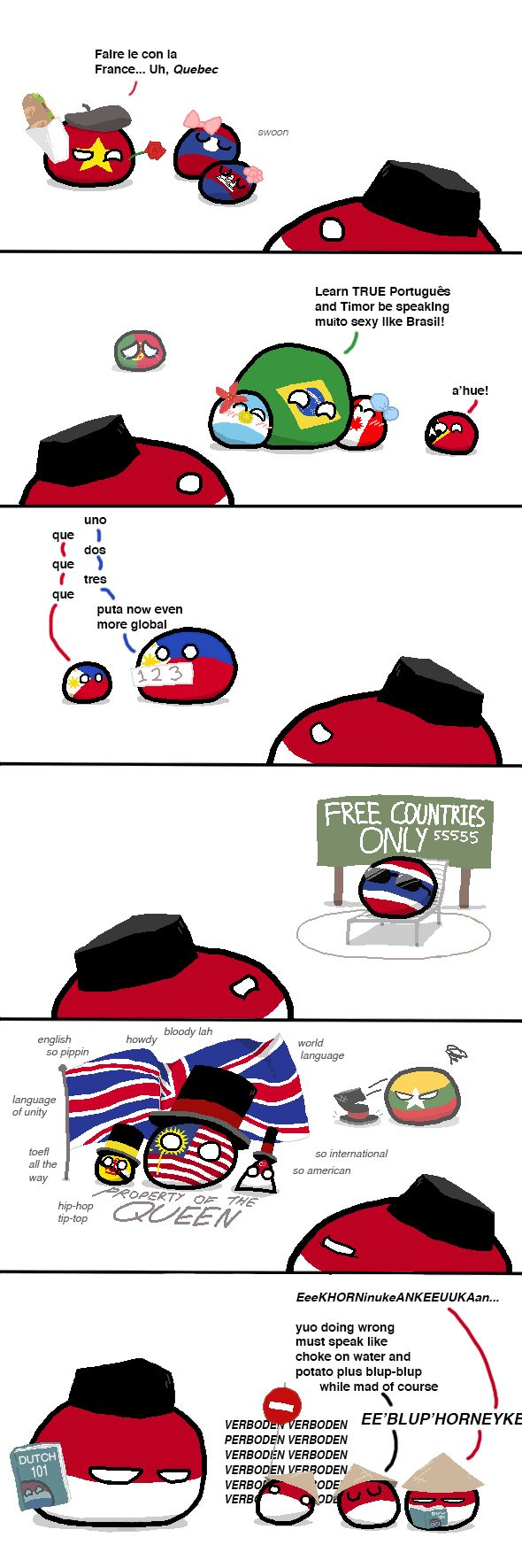 Bruneiball is the countryball that represents the State of Brunei, Abode of Peace. Their language is Malay but is spoken as minority English, Chinese Mandarin, Indonesian, and Arabic. 1300s the empires of the SEA or South East Asia like Majapahitball, Khmer Empireball, Malaccaball and Tondoball except cavemens who didn't made their empires or dynasties. The nickname of Brunei is Poli or Poni in chinese. The founder of the Bruneian Empireball was Sultan Muhammad Shah or his nicknamed Awang...