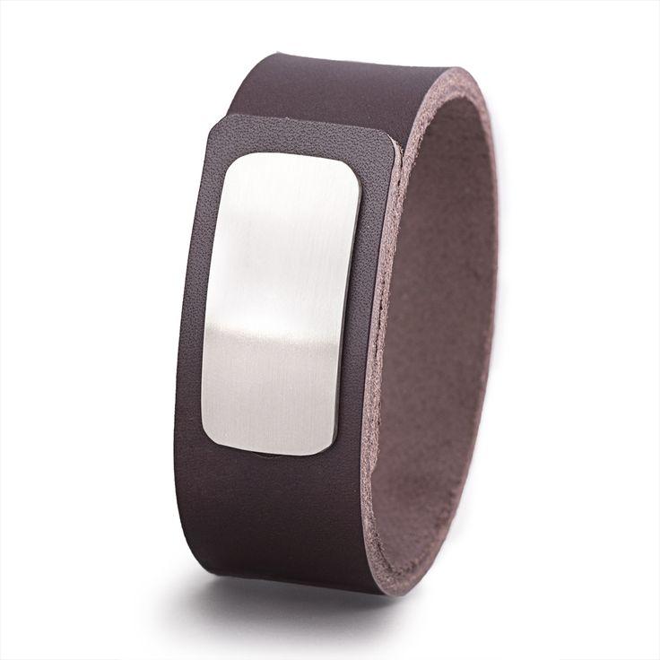 Wear Clint - Tuigleren armband (25mm / bruin) met RVS-sluiting. Een stoer design voor mannen en vrouwen!