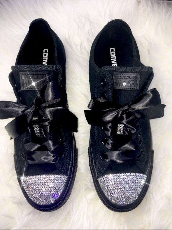 054bea16b801 Swarovski Crystal Custom Converse In Black With Beautiful Swarovski ...