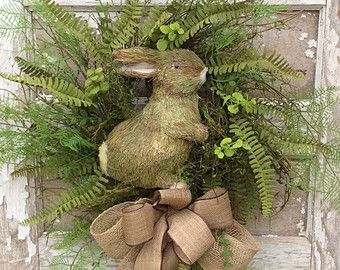 Spring Wreath Bunny Wreath Front Door Wreath by AdorabellaWreaths
