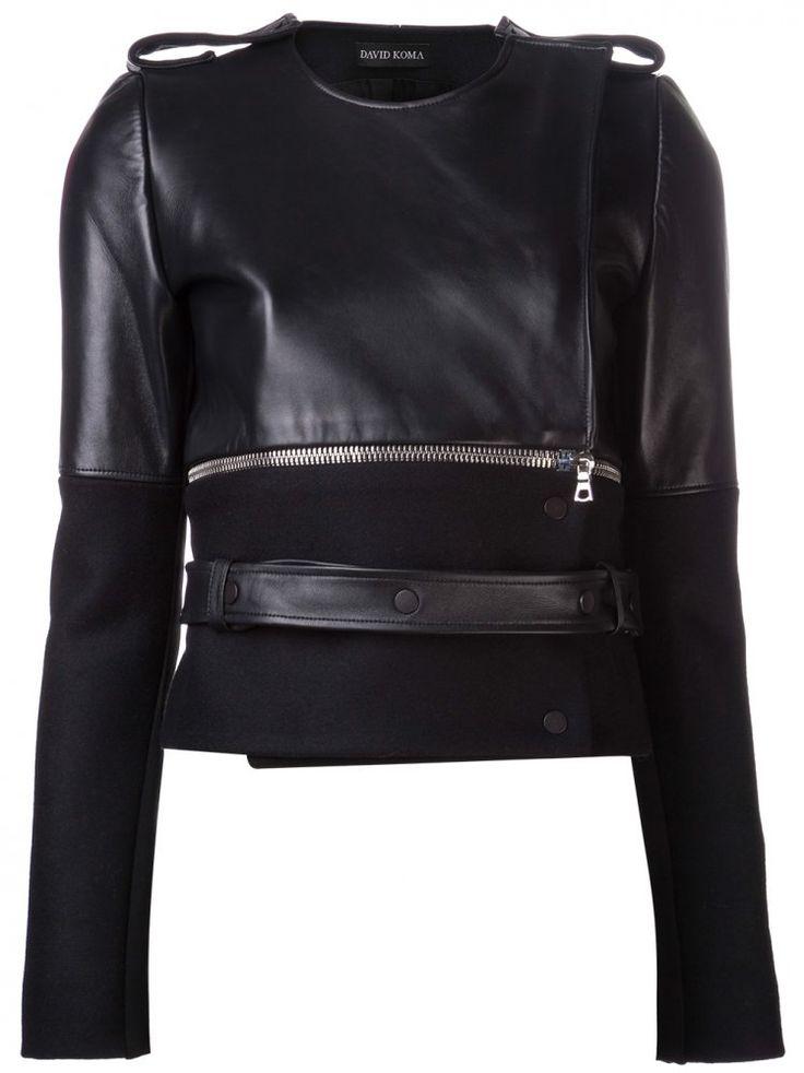 DAVID KOMA - Zip Divided Leather Jacket - DK04J WL BLACK - H. Lorenzo