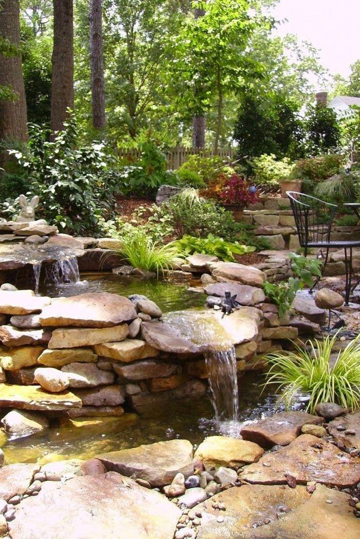 Wasserfall Garten Grün Exterieur