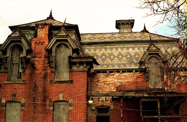 This incredible Second Empire house used to sit on a hill on State Street just outside of Fremont, Ohio, heading towards Clyde. For a while it was used by the JC's as a haunted house which many people still remember. It burned in the Nineties and was a great loss to the historic architecture of the area