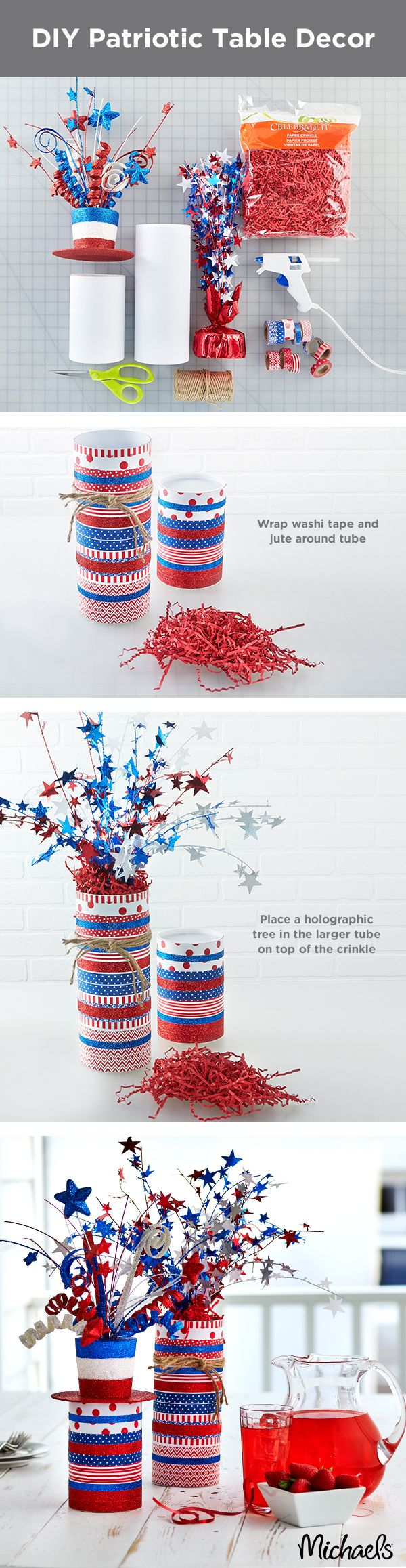 Liven up your 4th of July party with firecracker table décor in three easy steps. Start by wrapping washi tape around the outside of a packing tube. Add jute cording around the tube and tie off. To finish, fill the tube with a holographic tree or patriotic florals for a simple, yet festive centerpiece for your holiday party.