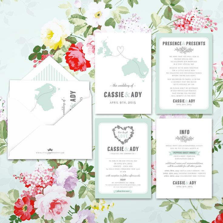 A6 world map wedding invite with floral heart and mint pinstripe lined envelope