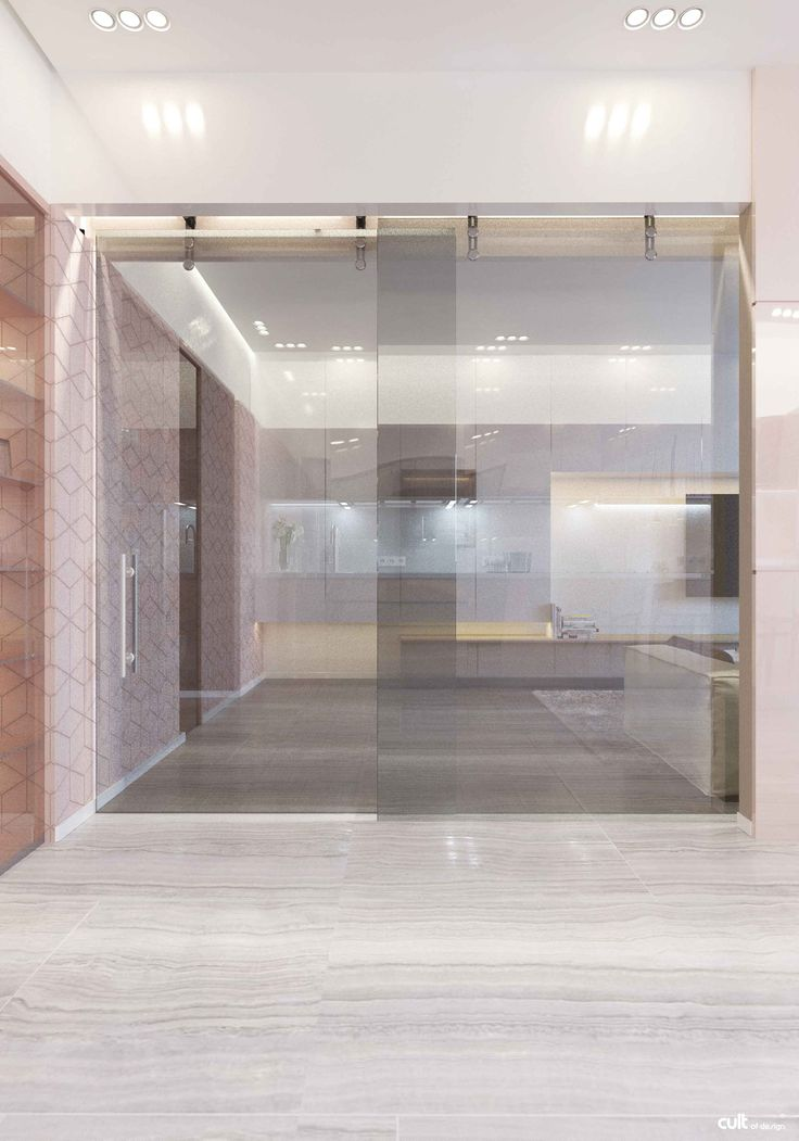 Internal walls are missing, created more openings. As separators used glass sliding partitions.